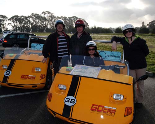 the Hamilton family of Acton, Ontario with their Go Cars in the City of San Francisco, California - March 2009